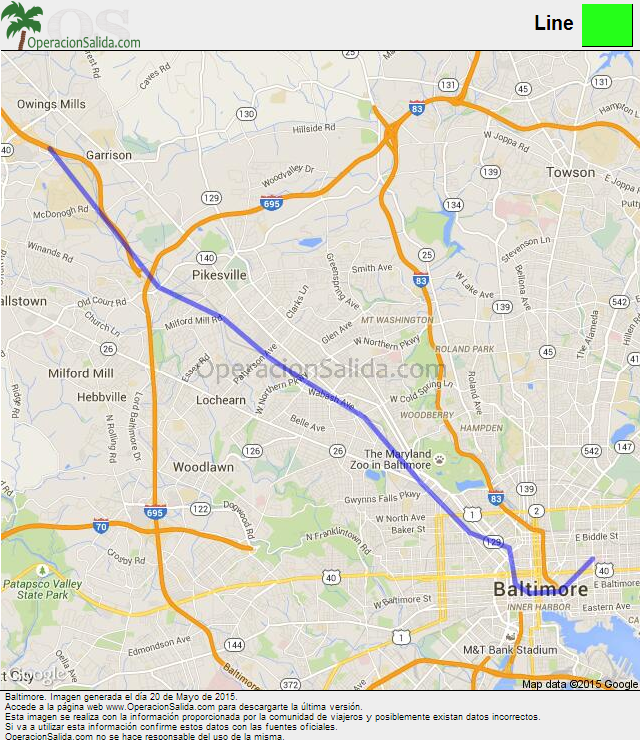 Map google Baltimore metro Line