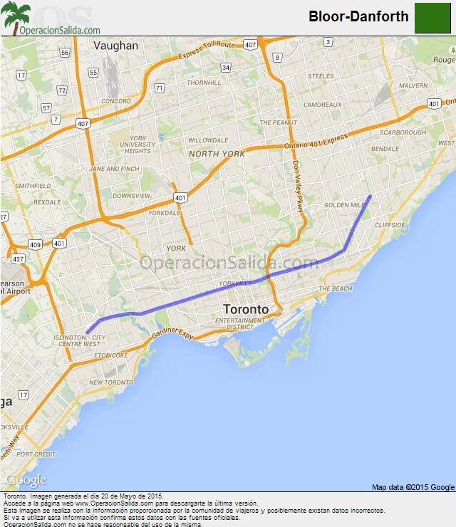 Mapa metrolinea Bloor-Danforth