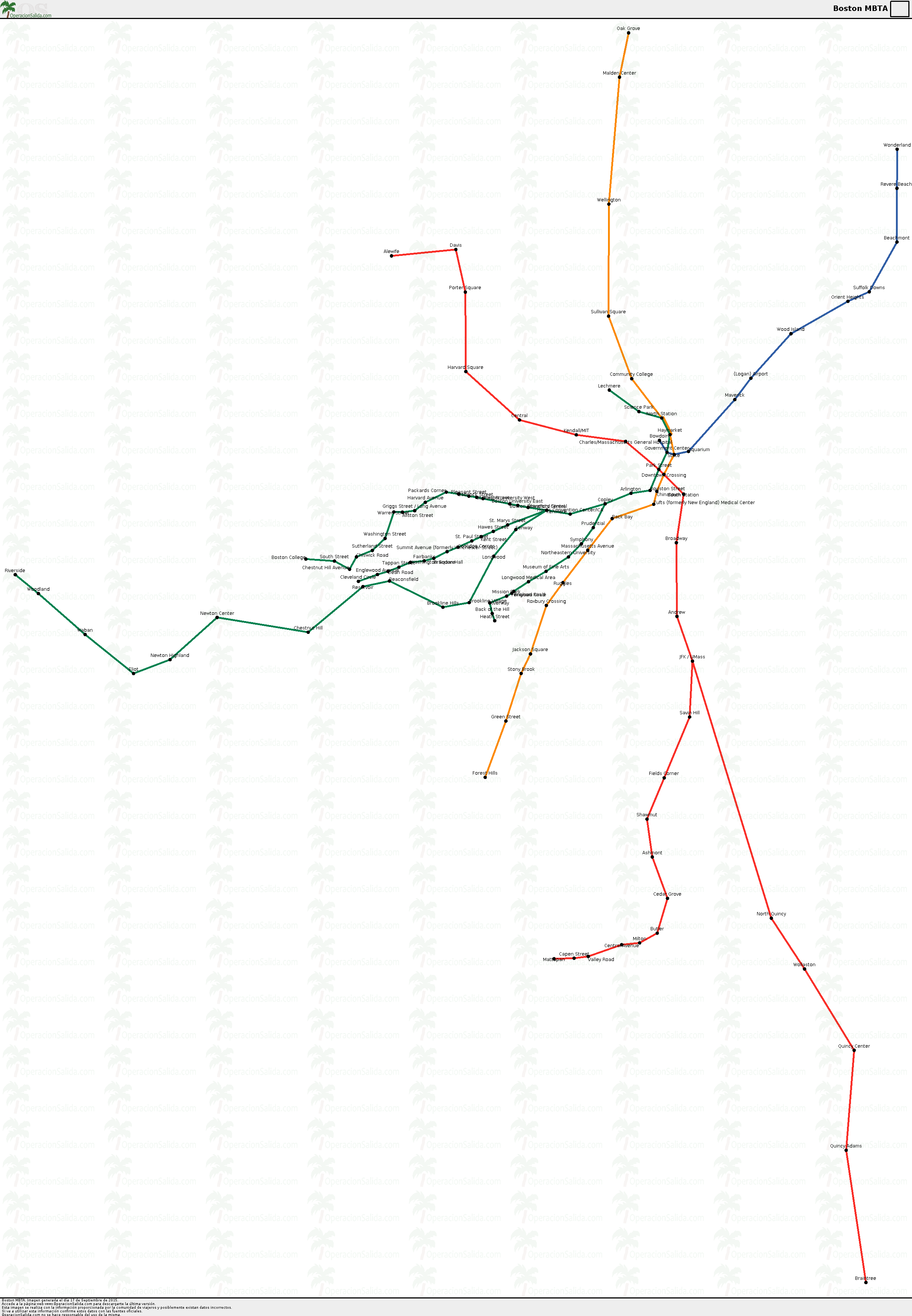 Mapa metro Boston MBTA